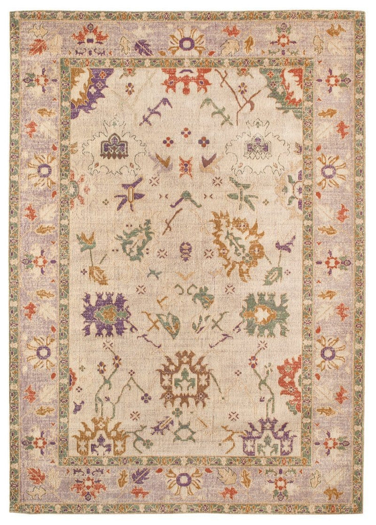 Olivia Boho Traditional Beige Purple and Coral Rug