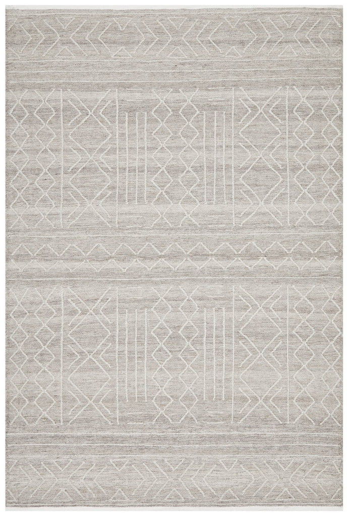 Omaha Brown Tribal Textured Flatweave Rug