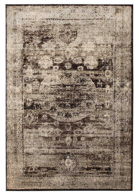 Oued Charcoal & Brown Faded Transitional Rug