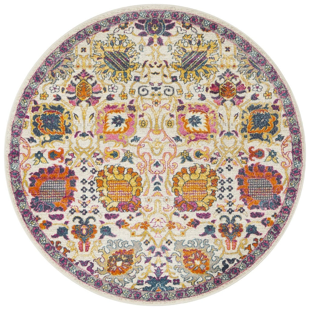 Oullins Multi Colour Round Traditional Floral Rug