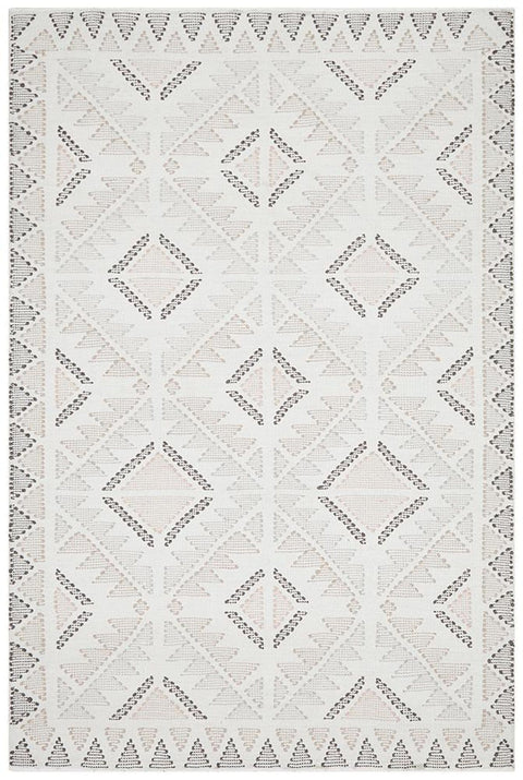 Ouray Ivory, Pink and Brown Flatweave Tribal Stitch Rug