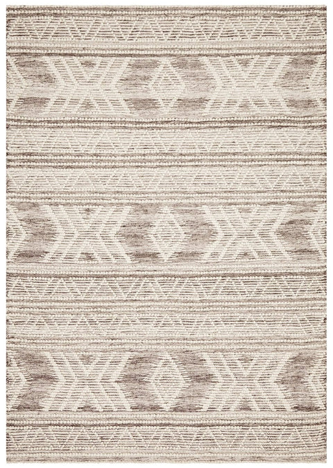 Pagosa Grey and Ivory Textural Tribal Flatweave Rug