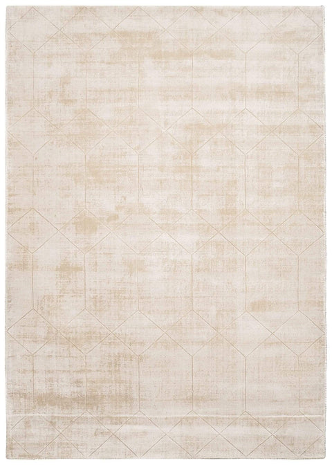 Parker Beige and Ivory Geometric Viscose Rug