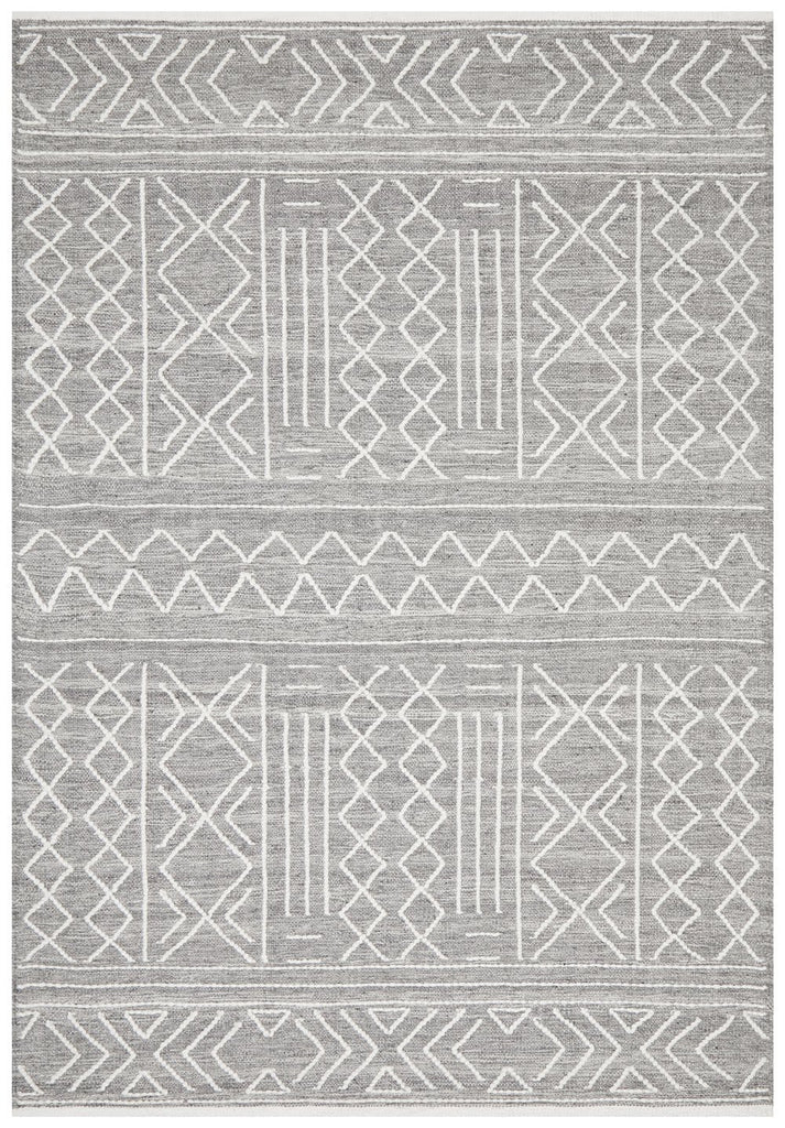 Pheonix Grey Brown Tribal Textured Flatweave Rug