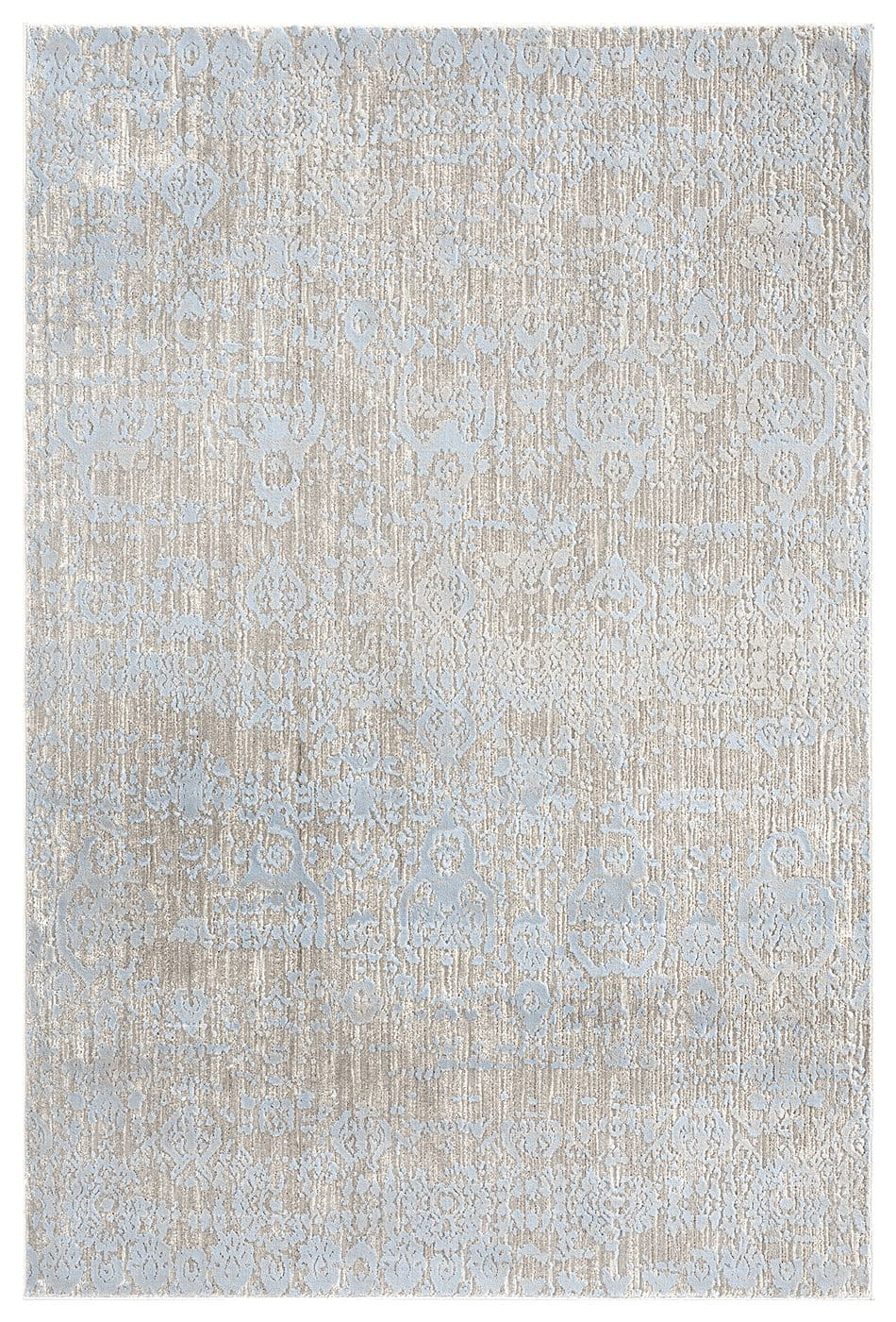 Pilar Grey Ivory and Blue Traditional Floral Rug
