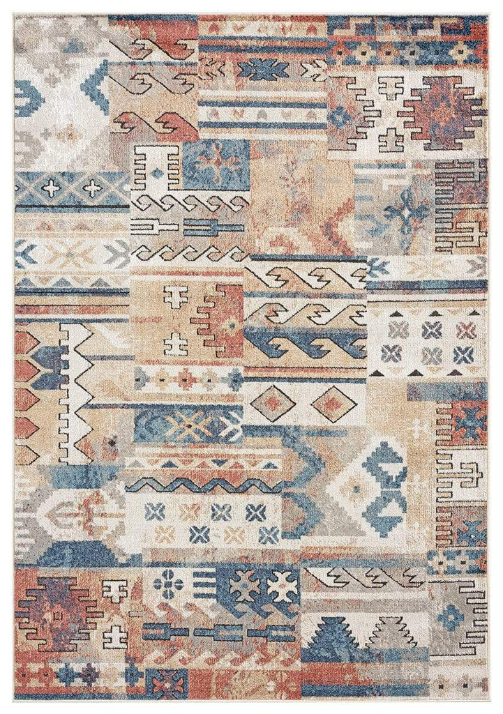Pippa Orange and Blue Multi Colour Tribal Rug