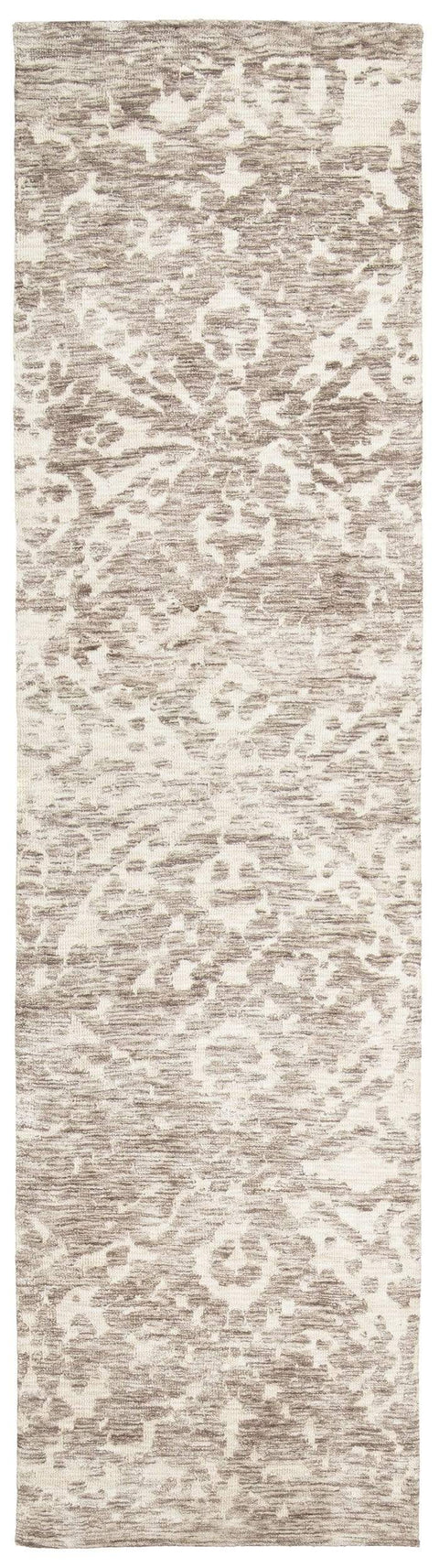 Quinn Grey Ivory and Cream Floral Motif Runner Rug