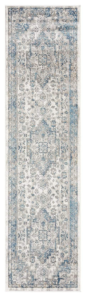 Rhona Blue and Grey Distressed Floral Runner Rug