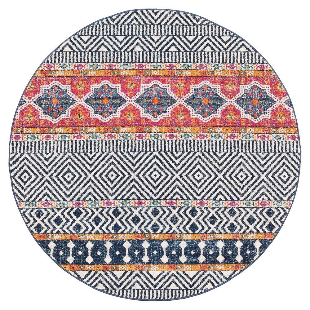 Rios Navy & Red Tribal and Medallion Pattern Round Rug