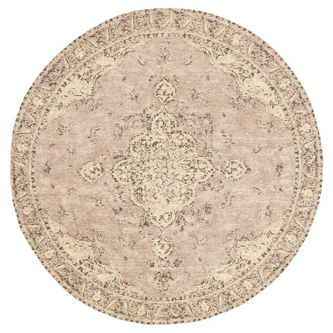 Sadie Coral Peach Turkish Style Distressed Round Rug