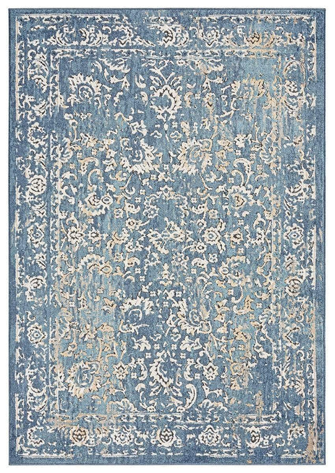 Sadira Blue and Beige Transitional Floral Motif Rug