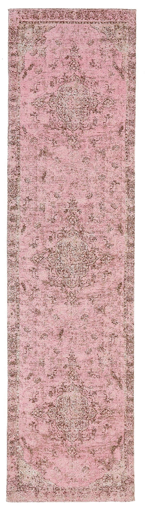Sahara Turkish Style Pink Distressed Medallion Runner Rug