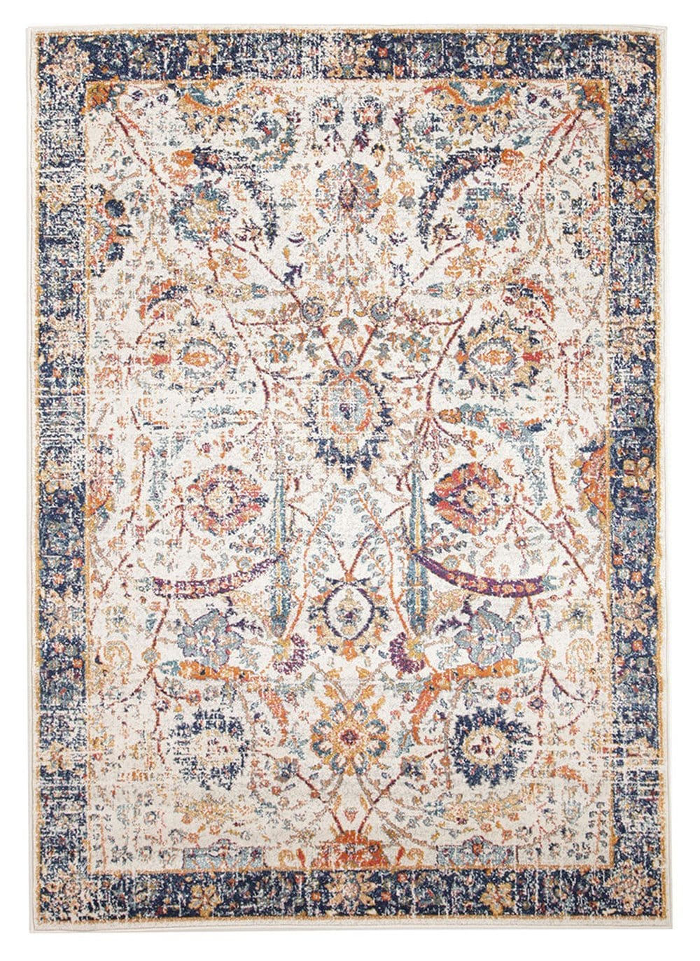 Sardis Orange & Blue Multi Colour Distressed Transitional Rug