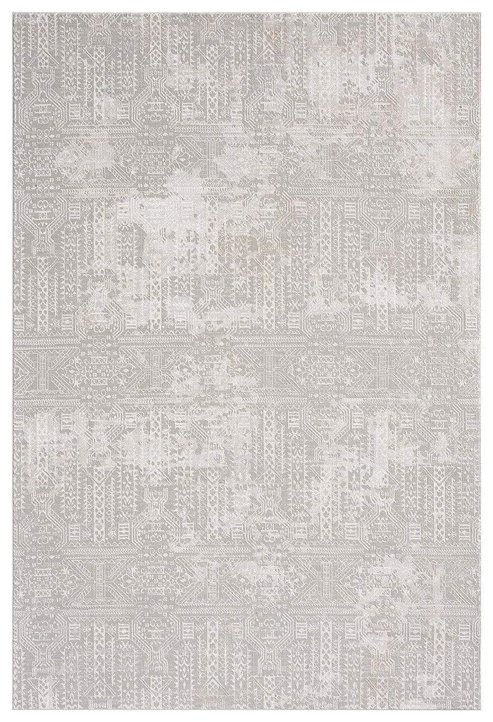 Satine Grey and Ivory Distressed Floral Tribal Rug