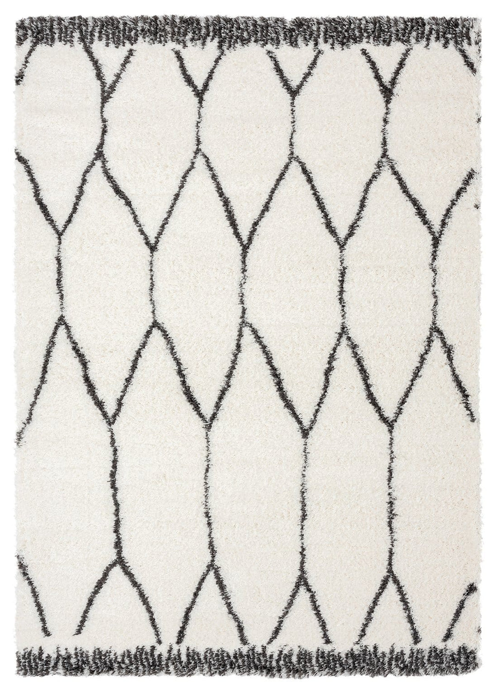 Selena Ivory and Charcoal Grey Tribal Shag Rug