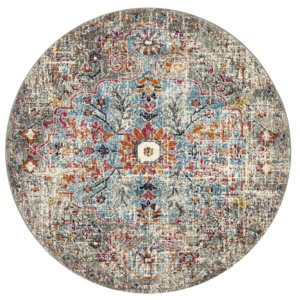 Shamkir Multi-Colour Traditional Floral Round Rug
