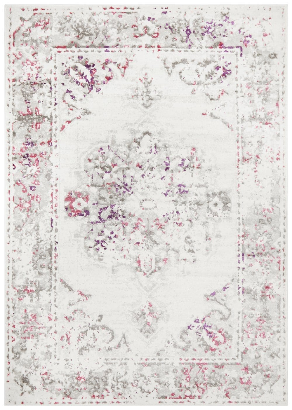 Sofia Ivory and Pink Distressed Transitional Rug