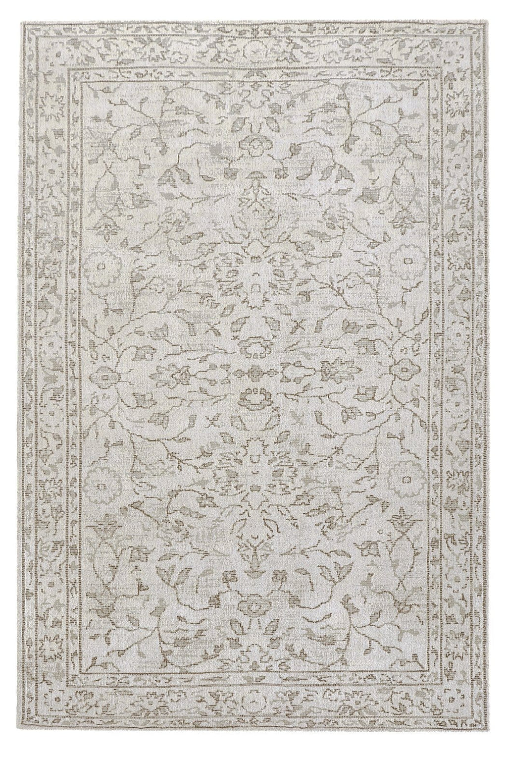 Sonia Ivory and Grey Floral Pattern Rug
