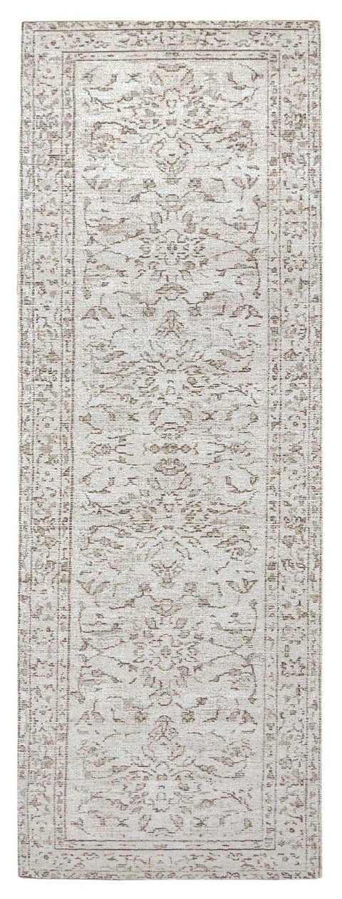 Sonia Beige and Grey Floral Pattern Runner Rug
