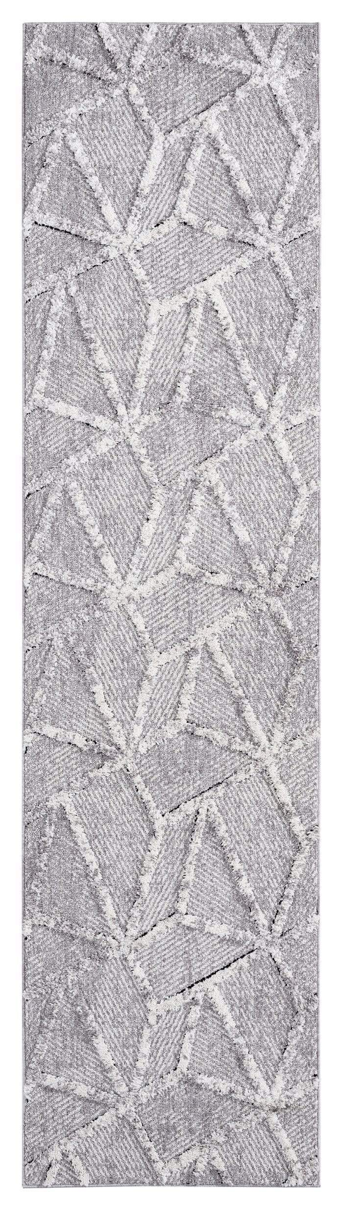 Soraya Blue Grey Abstract Textured Runner Rug