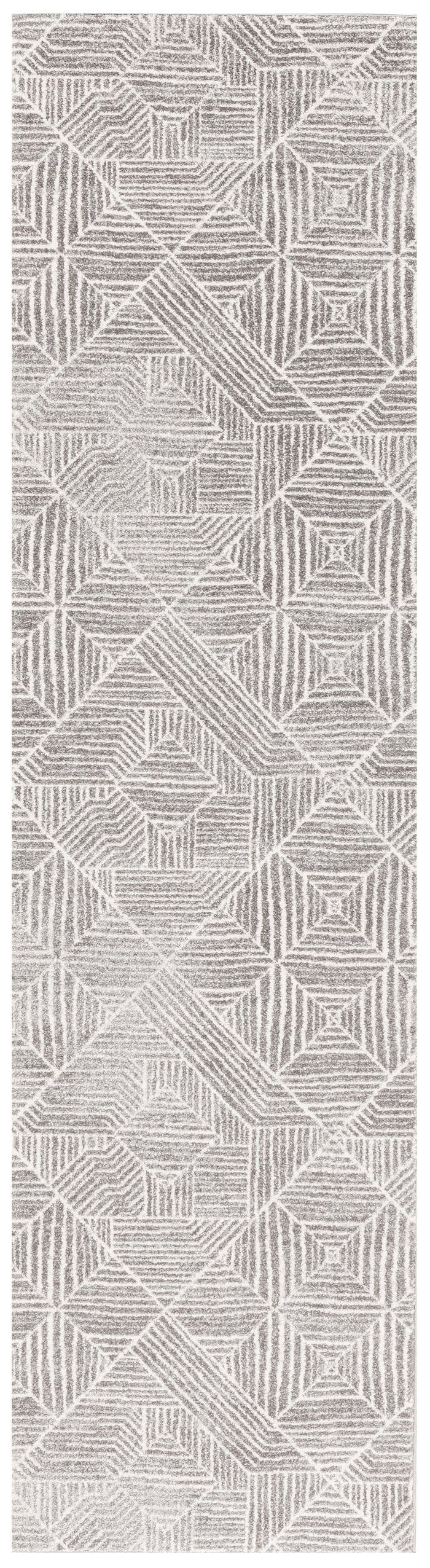 Suong Stone & White Tribal Diamond Pattern Runner Rug