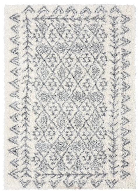 Tahnee Ivory and Grey Tribal Shag Rug