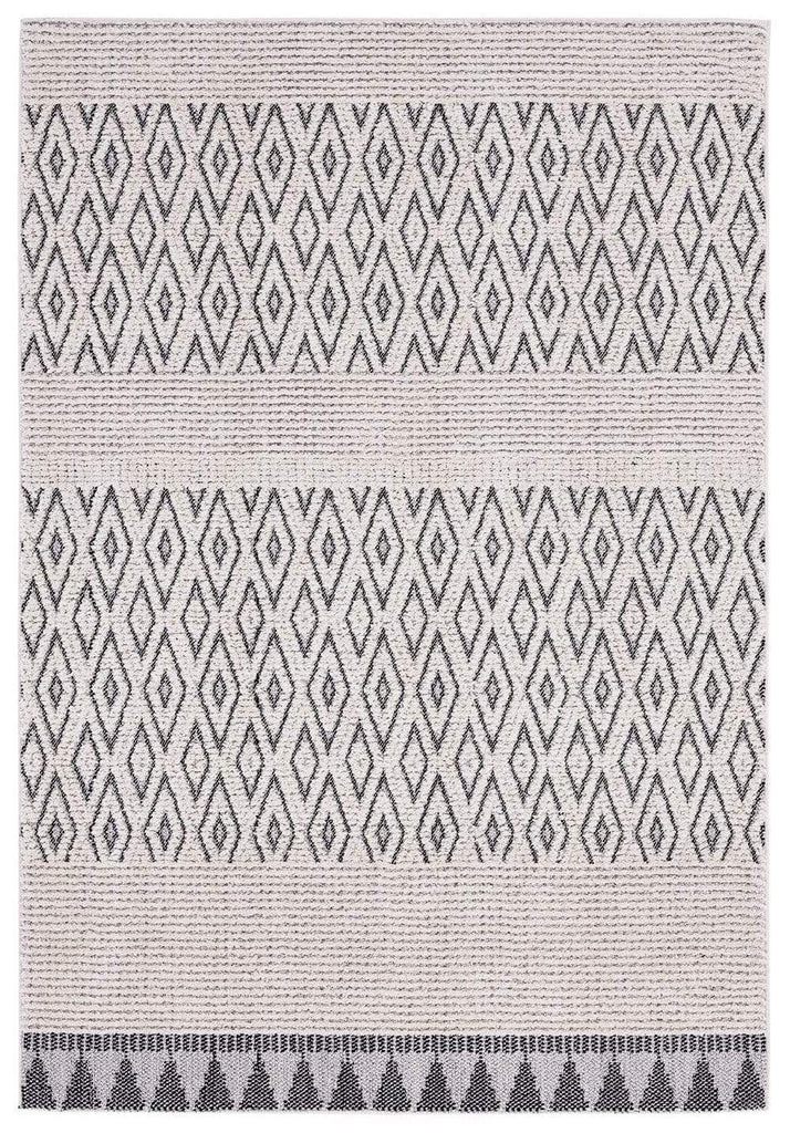 Talia Ivory Black Tribal Textured Rug