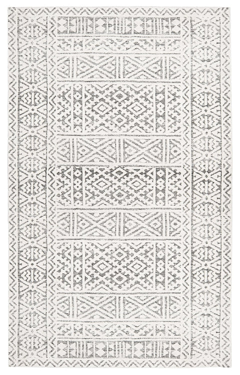 Tatiana Ivory and Grey Textured Tribal Rug