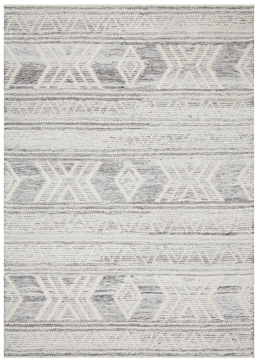 Telluride Silver Grey and Ivory Textural Tribal Flatweave Rug