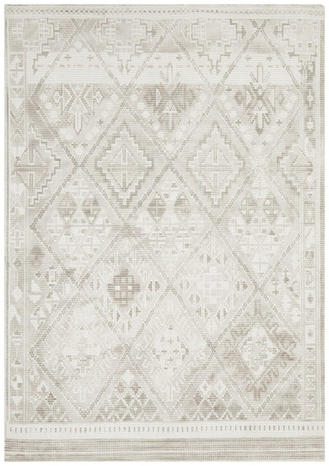 Teresina Beige and White Diamond Tribal Rug