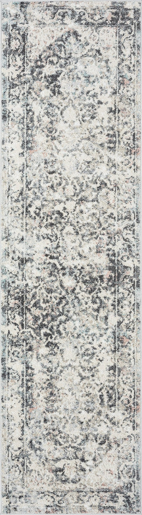 Thea Cream and Grey Traditional Medallion Floral Runner Rug