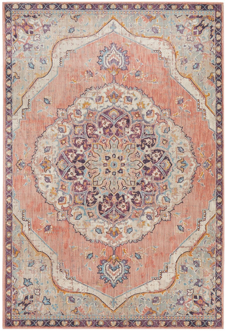 Thebes Purple and Apricot Traditional Distressed Medallion Rug
