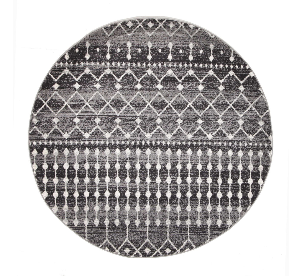 Tonder Black and White Scandinavian Pattern Round Rug