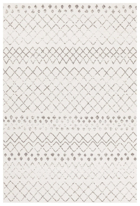 Toulon White & Dark Grey Diamond Pattern Rug