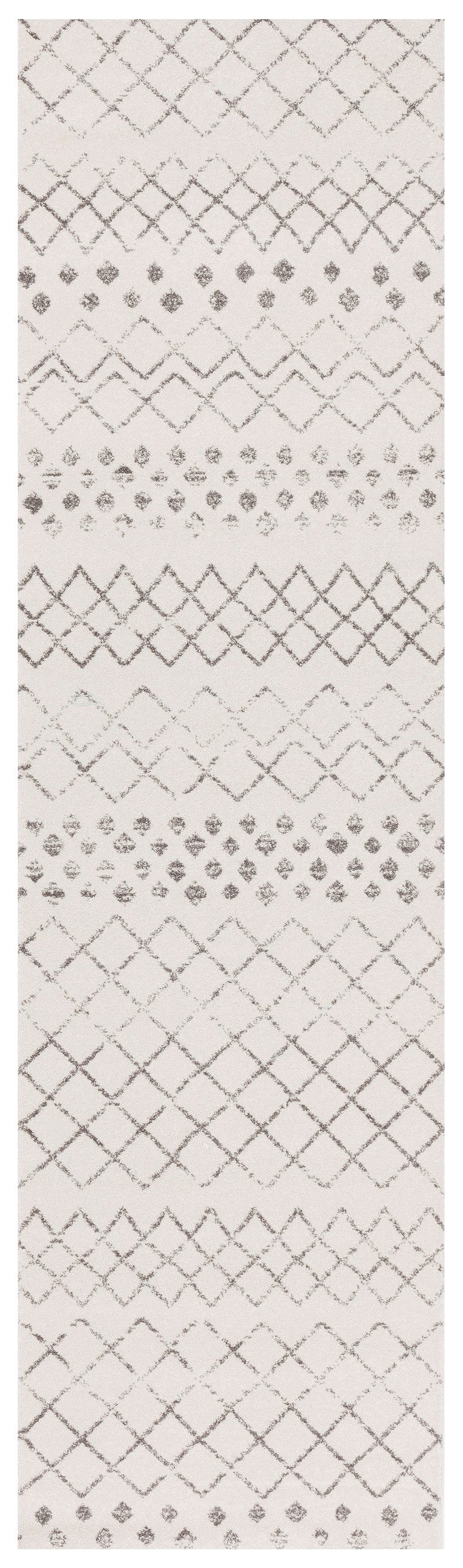 Toulon White & Dark Grey Diamond Pattern Runner Rug