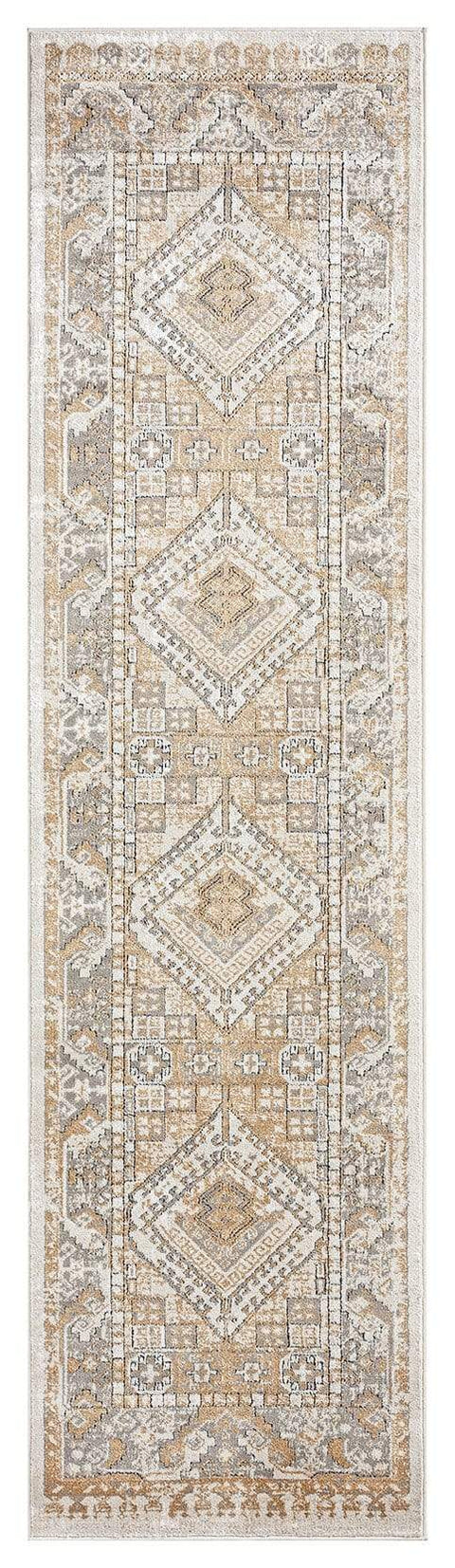 Tupelo Beige and Grey Tribal Medallion Runner Rug