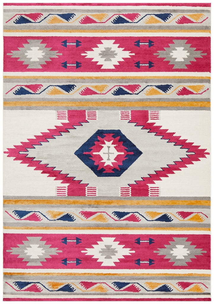 Tupiza Crimson Ikat Tribal Rug