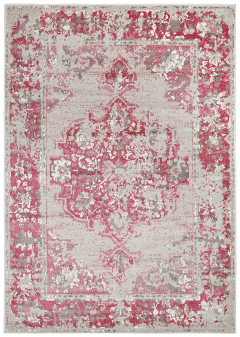 Varna Grey and Fuchsia Distressed Transitional Rug