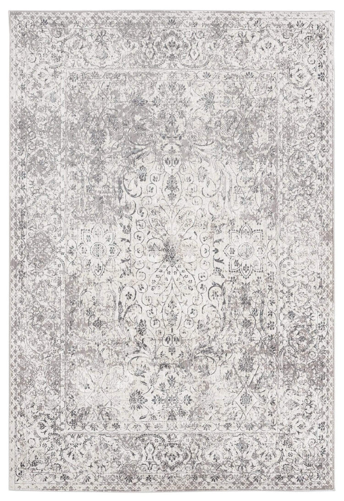 Winona Cream Brown and Silver Grey Traditional Floral Rug