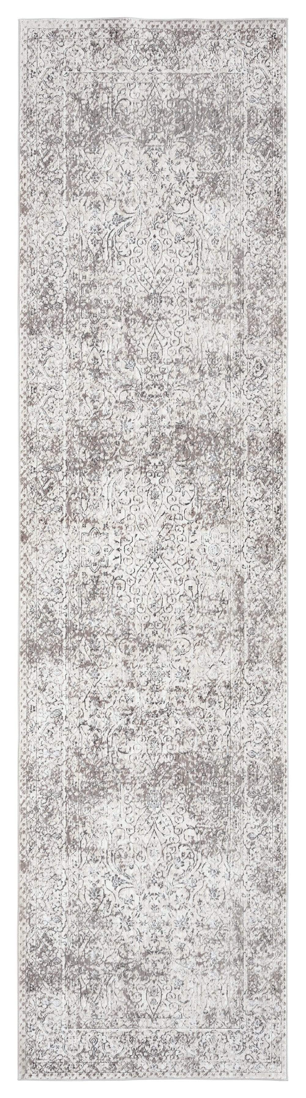Winona Cream Brown and Silver Grey Traditional Floral Runner Rug