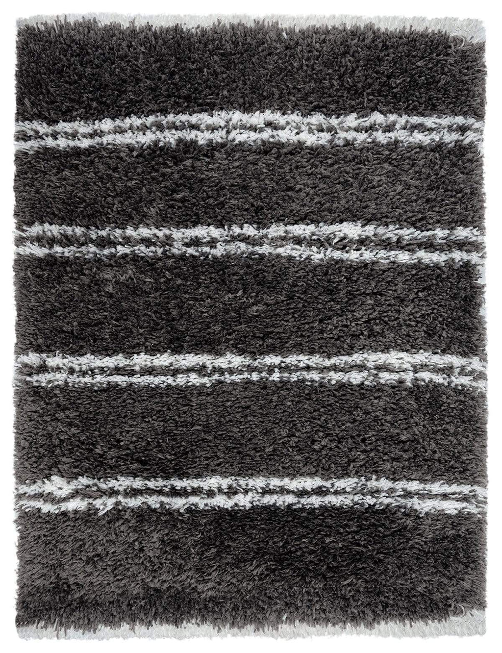 Yara Charcoal Grey and Ivory Shag Indoor Mat