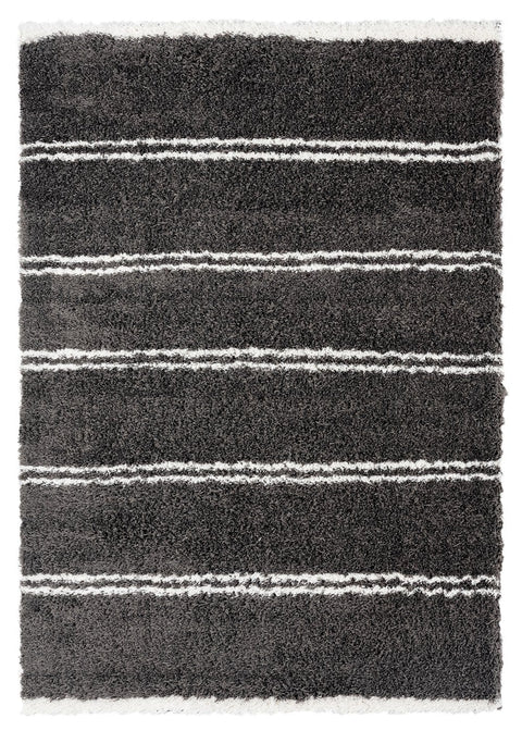 Yara Charcoal Grey and Ivory Shag Rug
