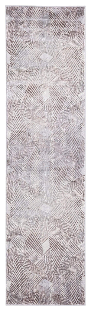Zenia Brown Grey and Ivory Distressed Tribal Runner Rug