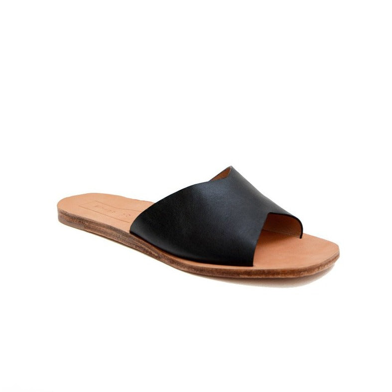 Either Or Handmade Leather Sandals Women's Classic Slide Black Ethically Made in Mexico