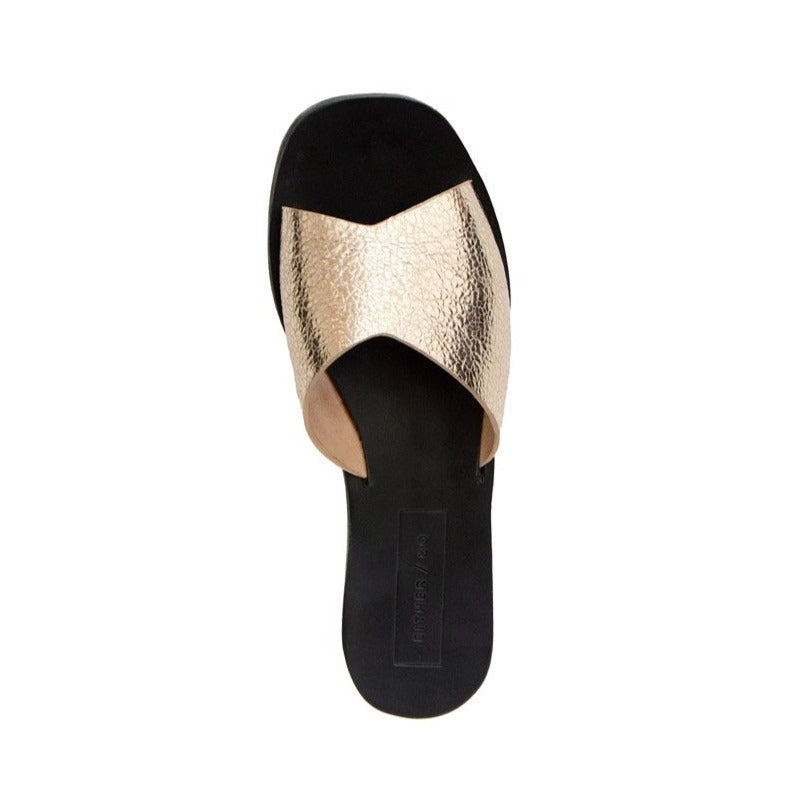 Either Or Handmade Leather Sandals Women's Classic Slide Champagne Gold Ethically Made in Mexico