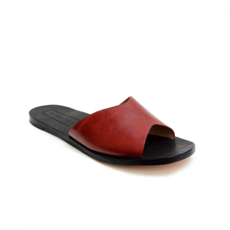 Either Or Handmade Leather Sandals Women's Classic Slide Vino Red Ethically Made in Mexico