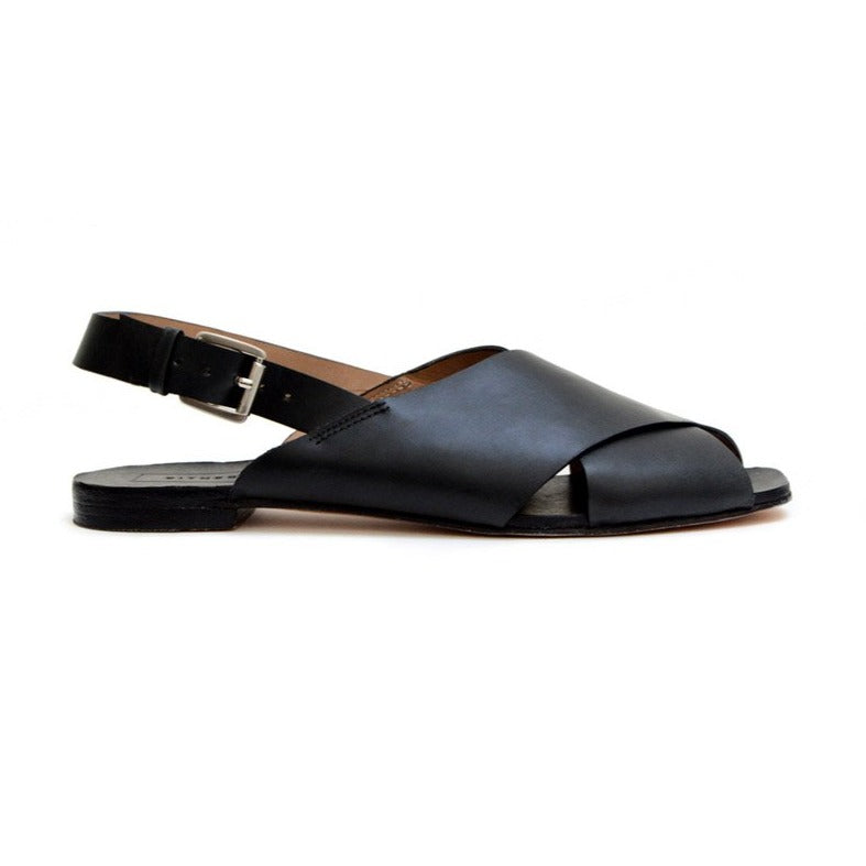 Either Or Handmade Leather Sandals Women's Crossband Black Ethically Made in Mexico