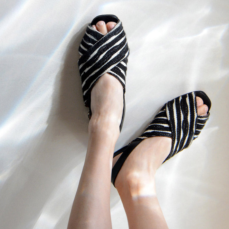 Either Or Handmade Leather Sandals Women's Crossband Black/White Ethically Made in Mexico