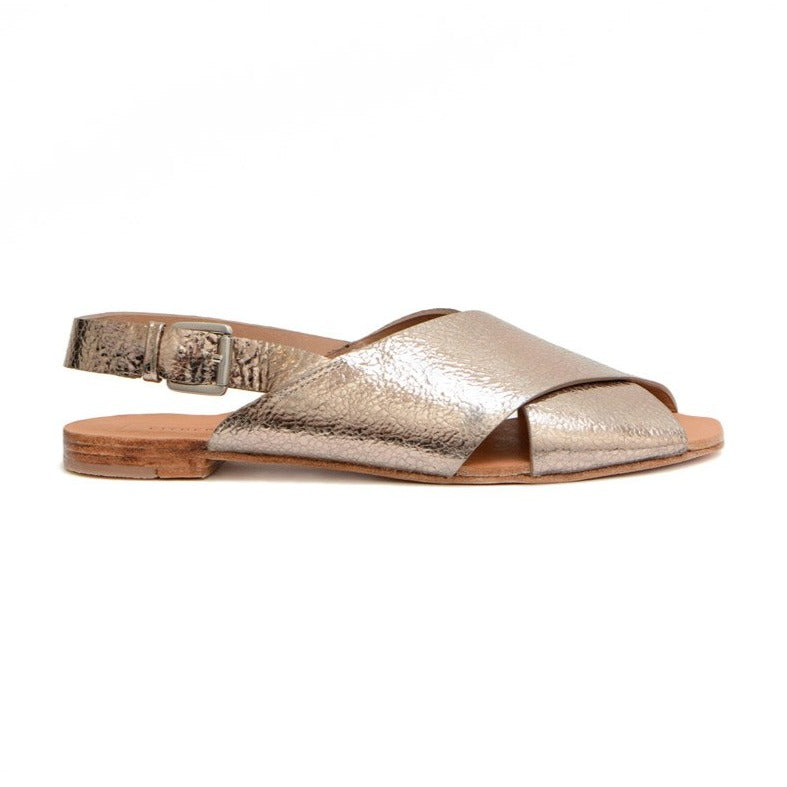 Either Or Handmade Leather Sandals Women's Crossband Champagne Gold Ethically Made in Mexico