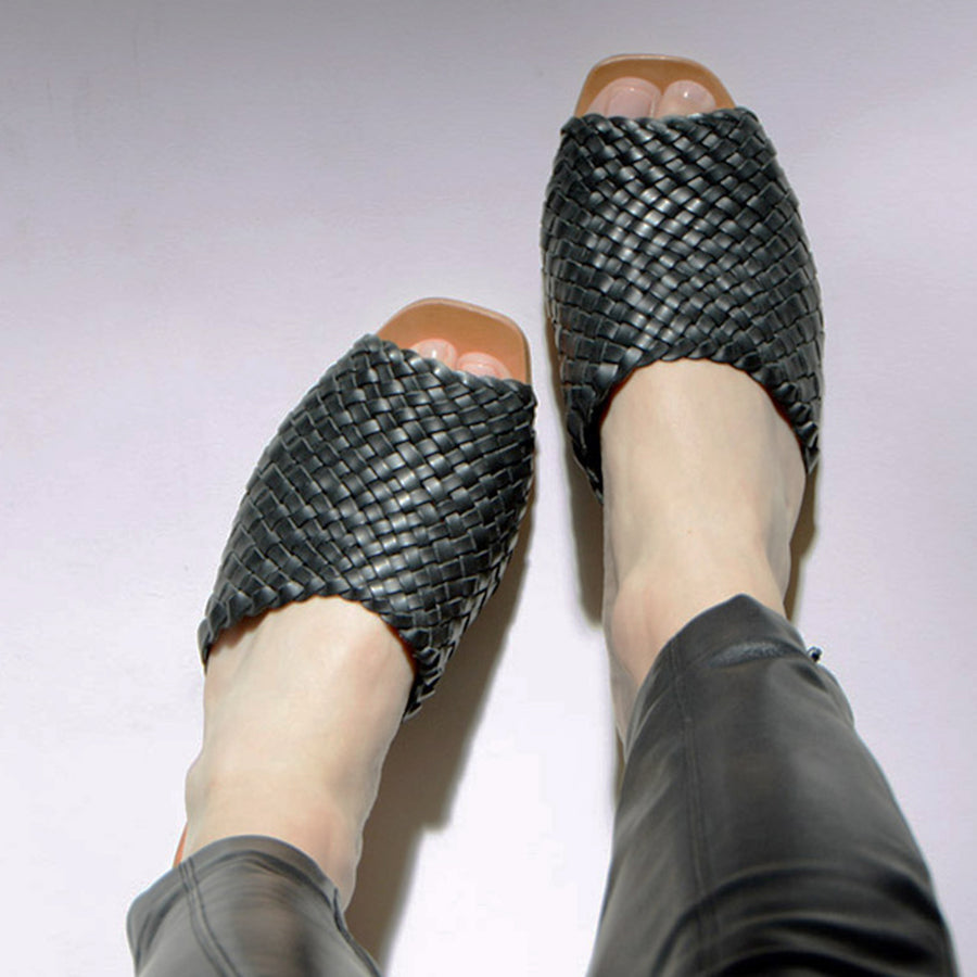 Either Or Handmade Leather Sandals Women's Woven Slide Black Ethically Made in Mexico